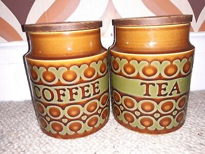 Vintage Hornsea Bronte Set Of 2 Storage Jars Tea And Coffee
