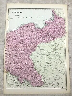 1891 Antique Map of Germany North East German Empire Old 19th Century Original