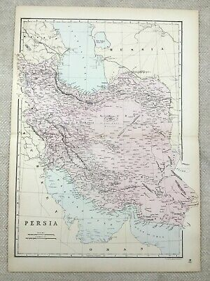 1891 Antique Map of Persia Persian Gulf Middle East Old 19th Century Original