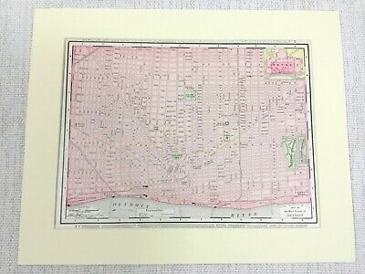 1901 Antique Map of Detroit Street Plan Michigan United States of America USA