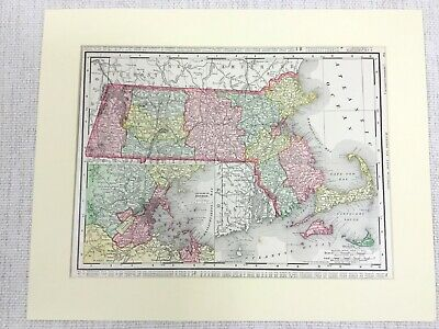 1901 Antique Map of Massachusetts State United States of America USA Americana