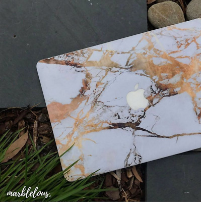 "MacBook 12"" GOLD MARBLE Sticker Vinyl Decal Skin FULL SET - Top/Key/Bottom"