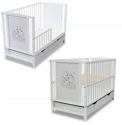 Wooden Baby Cot Bed with GUARD RAIL and DRAWER with or without mattress+Design