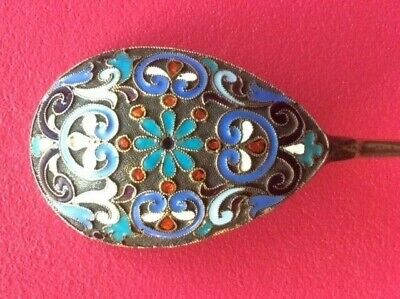 """Odessa"" City Spoon Cloisonne Enamel Silver 84 Russian Imperial Klingert Antique"