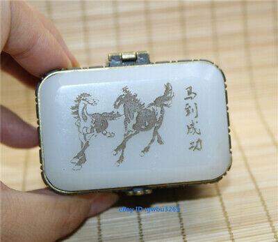 Collection Exquisite Chinese hand-carved flower horse inlaid Jade box