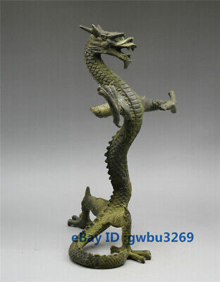 Collection Rare Chinese Bronze Handwork carved Domineering Dragon Statue