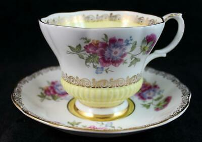 Royal Albert REGAL SERIES YELLOW Footed Cup & Saucer Bone China 4396 GREAT COND
