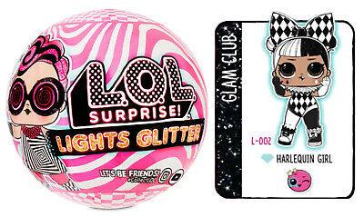 Lol Surprise Lights Glitter Series 🌟 Harlequin Girl 🌟 Doll Sealed Ball Mga New