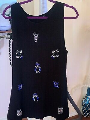 inc international concepts Womens Black Top Embroided With Gems Size L