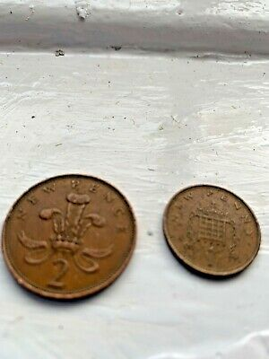 "1971  penny New Pence ""Coin Elizabeth II Circulated  and 1971 2 penny"