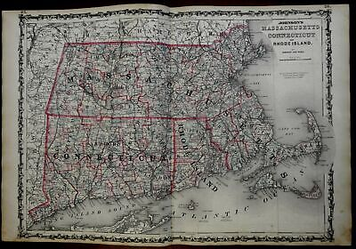Massachusetts Connecticut Rhode Island 1862 Johnson & Ward map Scarce Issue