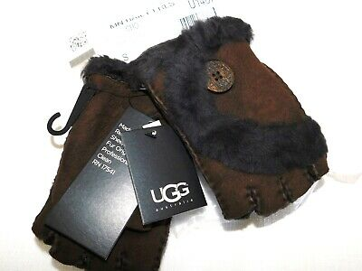 New Womens S Chocolate Ugg Mini Bailey Button Fingerless Suede Sheepskin Gloves