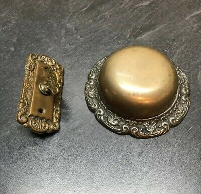 Antique Cast Iron Brass Mechanical Door Bell Old Victorian Hardware