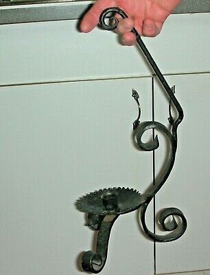 Rare 17th-18th Century Primitive Large Wrought Iron Black Candle Holder w/Handle