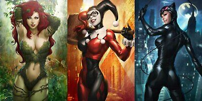 Poison Ivy, Harley Quinn, Catwoman - CANVAS OR PRINT WALL ART