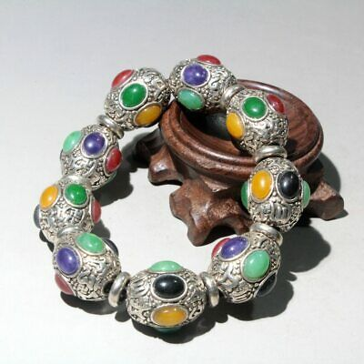 Collectable China Tibet Silver Handwork Carve Colored Agate Noble Chic Bracelets