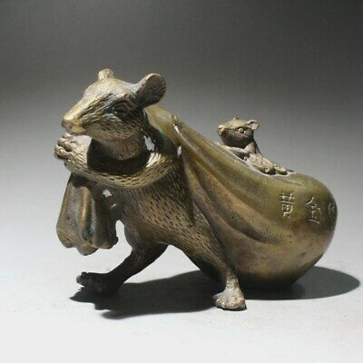 Collectable China Old Copper Hand-Carved Mouse Bring Wealth Interesting Statue