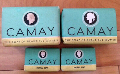 Vintage Camay Soaps +FREE Vintage Half Apron, 4 Wrapped Bars 2 Full-size, 2 Mini