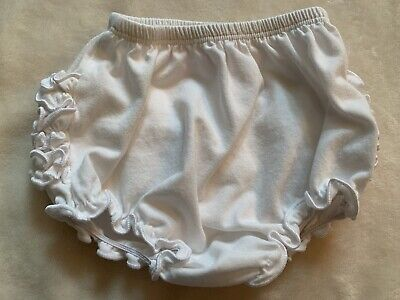 Ruffle Butts Diaper Cover  White 0-3 Months Cotton Lycra