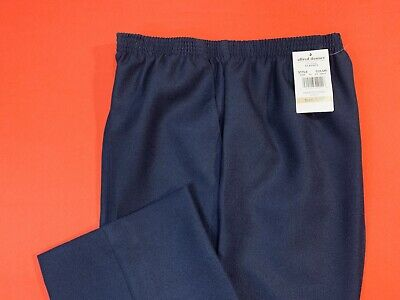 ALFRED  DUNNER .. Pull-On Polyester Pants .. Dark Blue .. Petite Size 12P .. NEW
