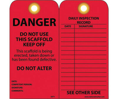 "6"" X 3"" Red Unrippable Vinyl Safety Tag ""DANGER: DO NOT USE THIS SCAFFOLD"""