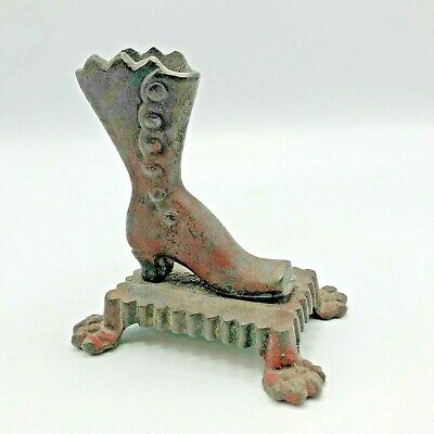 Antique Cast Iron Victorian Boot Match Safe Claw-footed Red Patina