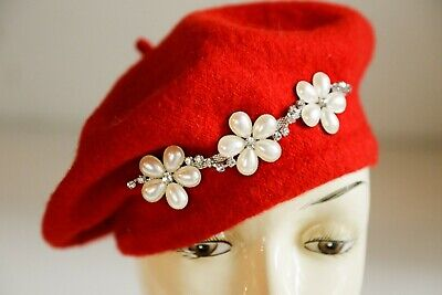 Bright Red Wool  Floral Beaded French Style Beret | Holiday Festive Beret