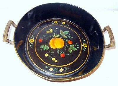 Antique Hand Painted TOLE METAL Tray BOWL Fruit Peaches Flowers Silver Plate