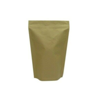 Kraft Brown Plastic & Paper Coffee Pouches With Valves - 160mm - 245mm - 250