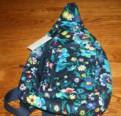 Vera Bradley ICONIC SLING BACKPACK MOONLIGHT GARDEN blue flowers 24947-N13