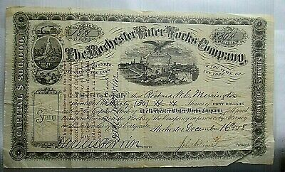 Rare 1868 Stock Certificate, 30 Shares of $50, Rochester Water Works, Bonds
