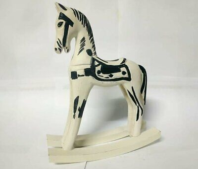 Statue Wood Carved Figurine Horse White Vintage Handmade Sport Base Art Accents