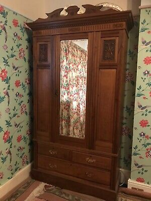 Antique Edwardian Solid Wood Carved Panels Wardrobe With Mirror And Drawers