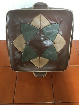 VINTAGE 60s MID CENTURY VINYL Faux LEATHER POUFFE FOOTSTOOL SOLID Home Seat