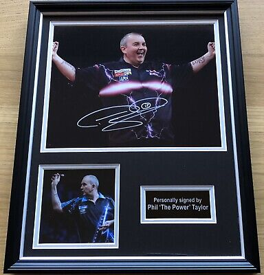 Phil The Power Taylor Hand Signed Darts Autographed Photo Display & COA!