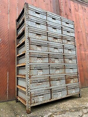 ⭐️ Vintage Antique Bank Of Drawers Steel Racking Cabinet Industrial Shelving ⭐️