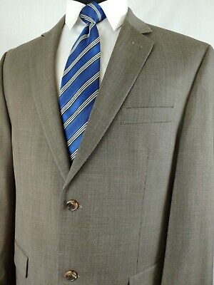 Joseph Abboud Mens Suit Gray Brown Taupe 2 Button 2 Piece Wool Screen 42R 36x31