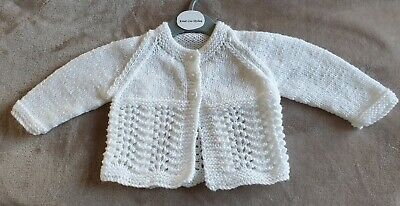 BRAND NEW - Hand Knitted Baby Cardigan To Fit Newborn to Age 6 Months Approx