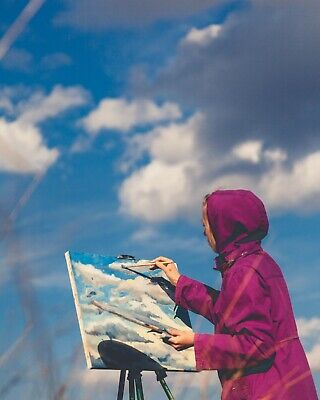 Cloudy Sky - Original Handmade Landscape Impressionism Oil on Canvas Painting