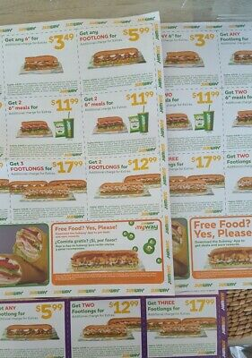 36 Subway Coupons (3 sheets of 12 coupons each), Expiry 4/8/20.