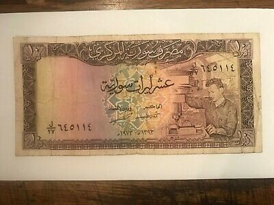 1973 Syria 10 Pounds Note Fine #20487