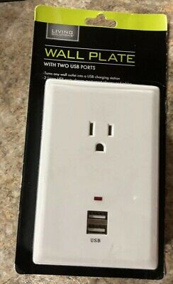 Wall Plate Living Solutions Wall Plate with 2 USB Ports NEW