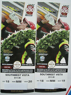 2 Indianapolis Indy 500 tickets 2020 Turn 1 Southwest Vista Up High Great Views
