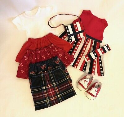 "Lot 9 Doll Clothes fit 18"" American Girl Doll Patriotic Dress Set Red Doll Shoes"