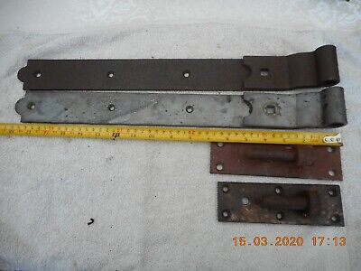 Rustic rusty wrought iron Vintage Gate / Barn / garage Door Hinges 18.5""