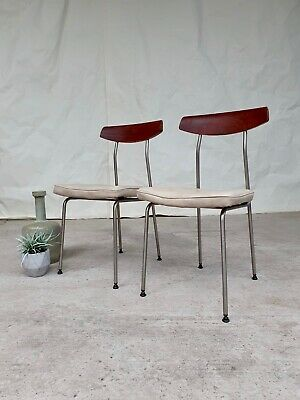 Vtg Mid Century Set 2 S Range dining Chairs By John & Sylvia Reid For Stag #347