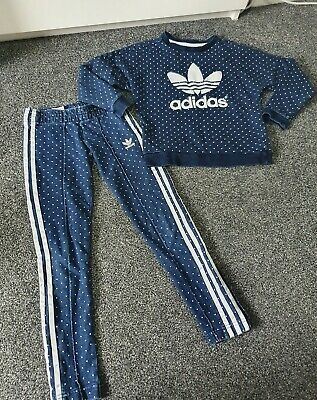 Girls Adidas Blue And White Spot Tracksuit Age 7-8