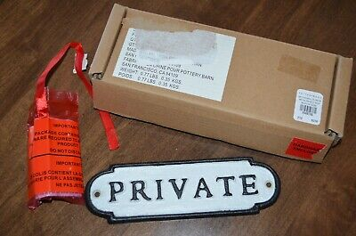 Pottery Barn Metal Small Cast Iron Private Word Sign Wall Door Black White