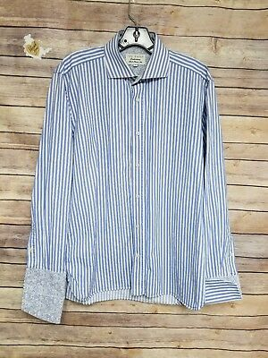 Ted Baker Endurance Classic Fit Button Front Shirt Mens Blue White Striped Sz 16
