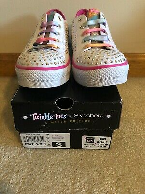 Girl/'s SKECHERS TWINKLE TOES STEP UP GLITZY KICKS 10678 Blue//Purple 180K sm New